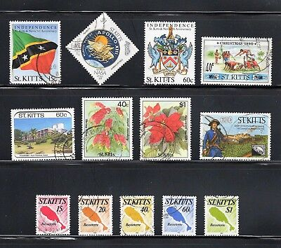 St Kitts -- 13 diff used from 1988-90 -- cv $8.30