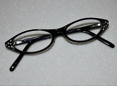 Vintage Women's Reading Glasses Black Frame Rhinestone Cat Eye Eyeglasses ~1.50