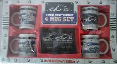 New In Box Orange County Choppers 4 Coffee Mug Set 2005 Collectors Edition