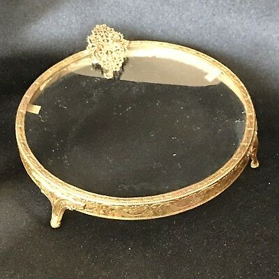 "Antique French Goldtone Ormolu Footed Vanity / Dresser Hair Pin Tray- 4 1/2"" Rd."