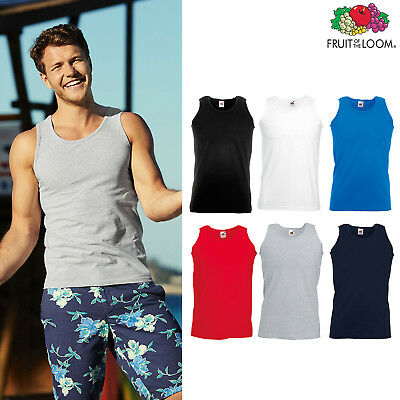 Men Lightweight Athletic Vest Fruit of the Loom Sleeveless cotton Tank Top S-5XL