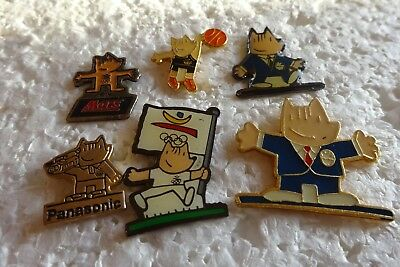 Job lot of 6 Cobi Mascot for the 1992 Summer olympics metal lapel pins