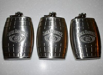 New 2007 Stainless Steel JACK DANIELS Old No. 7 Barrel Flask Decanter – 6 ounces