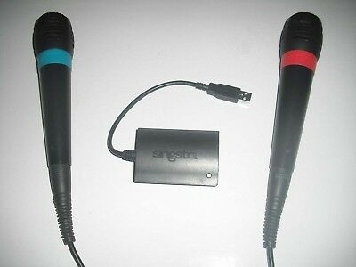 2 Sony SingStar Mikrofone + USB Adapter ** Playstation 2 + 3 + 4