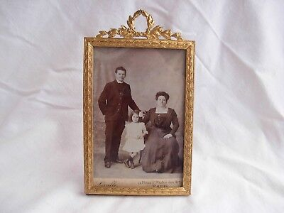 ANTIQUE FRENCH GILT BRONZE BRASS PHOTO FRAME,EMPIRE STYLE,LATE 19th CENTURY.