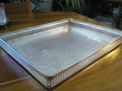 A VINTAGE SILVER PLATED TRAY - unusual design