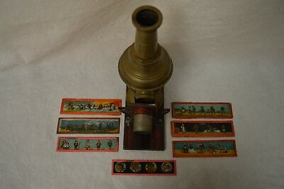 VINTAGE MAGIC LANTERN PROJECTOR with 7 SLIDES