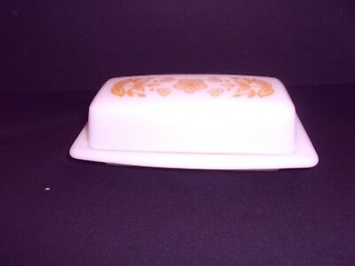 Pyrex Butterfly Gold Butter Dish Complete Bottom and Top Covered Vintage