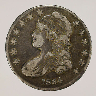 1834 50c CAPPED BUST HALF DOLLAR - LETTERED EDGE - LOT#H094