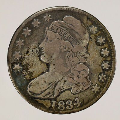 1834 50c CAPPED BUST HALF DOLLAR - LETTERED EDGE - LOT#H088