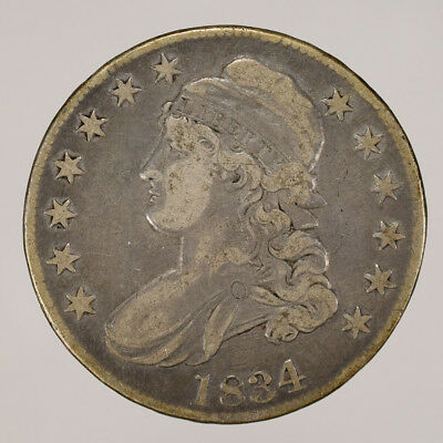 1834 50c CAPPED BUST HALF DOLLAR - LETTERED EDGE - LOT#H097