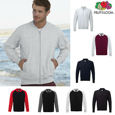Fruit of The Loom Baseball Sweatshirt Jacket Men's Zipped Lightweight Raglan top