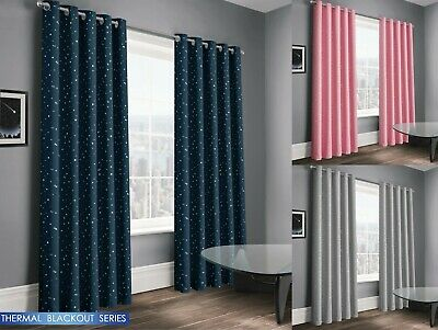3 Pass Thermal Ready Made Ring Top Eyelet Blackout Curtains Stars Light Reducing