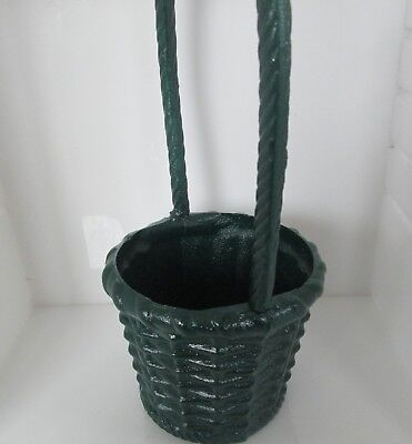 Vintage Department 56 Green Cast Iron Outdoor Flower Basket Planter
