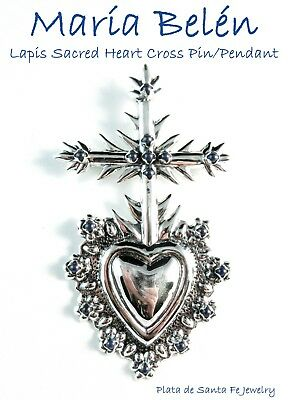 "Maria Belen ~Lapis Sacred Heart/Cross~Oxidized 925 Pin OR Pendant~4"" Tall"