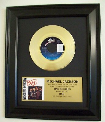 Michael Jackson BAD Gold 45 rpm Record + Mini Album Sleeve Not a Award