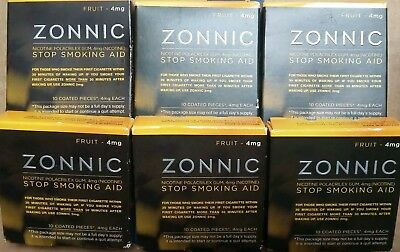 6 Pack ZONNIC NICOTINE GUM FRUIT Flavor 4MG 10 Pieces Each Exp 04/17