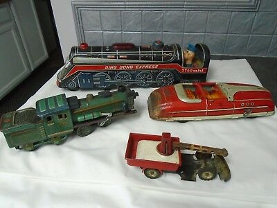 Lot Of Vintage Tin Toys Trains Cars Ding Dong Express