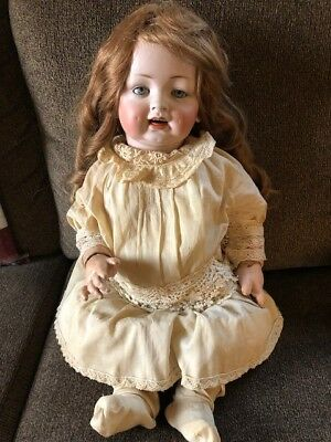 Antique 22'' German Louis Wolf & Company Porcelain Bisque Doll w/ Human Hair Wig
