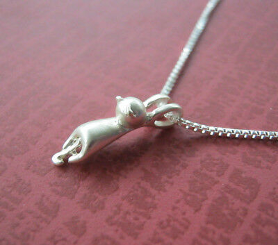 """Cat Necklace Pendant Hanging Silver Plate Kitten Animals Pet Gift Small Cute 18"""""""