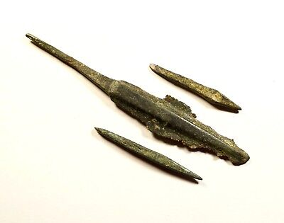 SUPERB LOT OF 3 Ancient Greek Scythian Arrow Heads Bronze & Iron 5th c BC