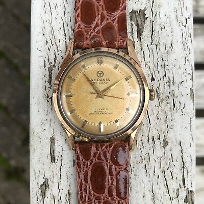 Superb vintage 1950's swiss made Rodania incabloc two tone dial rose gold watch