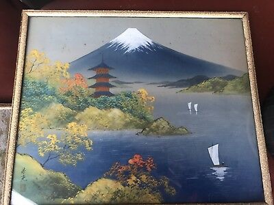 Vintage Signed Japanese Landscape Painting on Silk Fuji Summer