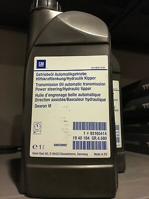 Genuine Vauxhall Gm Power Steering /auto Transmission Fluid Dexron Vi 6 93165414