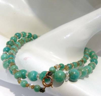 ART DECO 1930s 9ct ROSE GOLD NECKLACE  BOLT RING AMAZONITE CRYSTAL BEAD NECKLACE