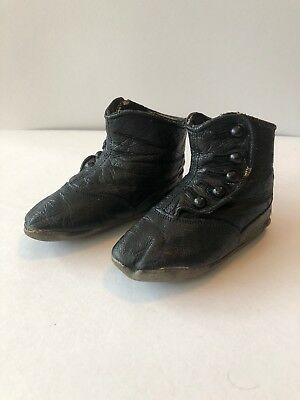 "Childs High Button Shoes Black Leather C1910 5"" In Legnth"