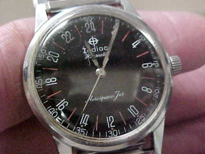 Vintage Zodiac Wristwatch Jet Aeronaut Pilots Watch Hermetic 24hr Dial Runs