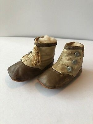 Childs High Button Shoes Leather C1910 Taupe And Cream Tassel