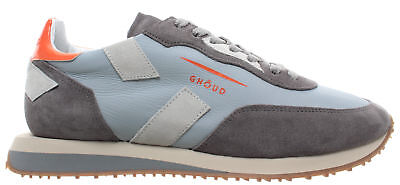 GHOUD Venice Men s Shoes Sneakers Rush Low Leather Light Blue Grey Orange  New 4a6b406a43d