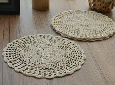 4 Crochet Cream Doilies Lot Rustic French Country Table Runners Wedding Coasters