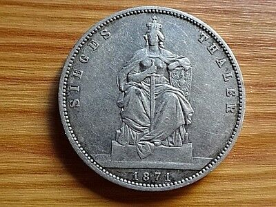 German States-Prussia Silver 1 Thaler 1871 A Victory Over France Very Rare Coin
