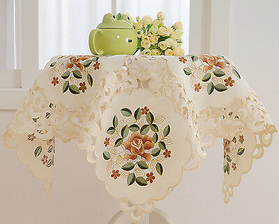 "36"" Square Embroidered Side Table Cloth Topper Floral French Country"