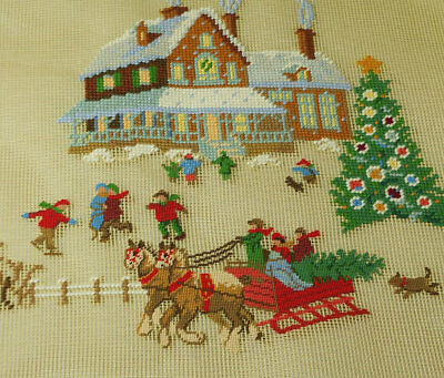 """18"""" Square Vintage Preworked Needlepoint Canvas Christmas Eve Completed"""