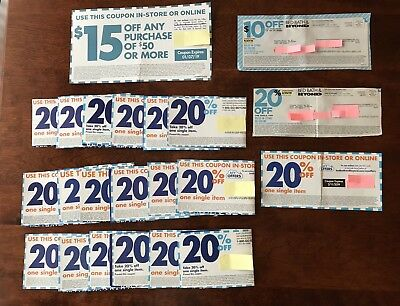 Lot of 22 Bed Bath Beyond Coupons Some Unexpired $15 off 50, $10 off 30, 20% off