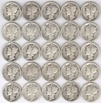 Lot of 25 - Mercury Dimes + 1916 - 1930-S + SILVER + circulated + No Reserve!