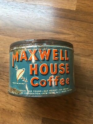 VTG MAXWELL HOUSE COFFEE TIN 1 lb., Blue, Without Lid