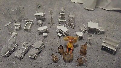 Dollhouse Miniature White Metal Wicker Furniture Large Lot 29 pieces - Must See
