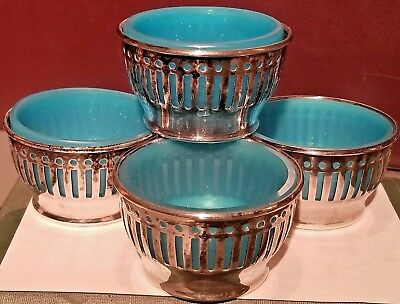 OLD REED BARTON NICKLE SILVER SILVERPLATE SERVING CUPS w/ ART GLASS INSERTS EPNS