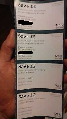 4 x Marks And Spencers Vouchers Save £14