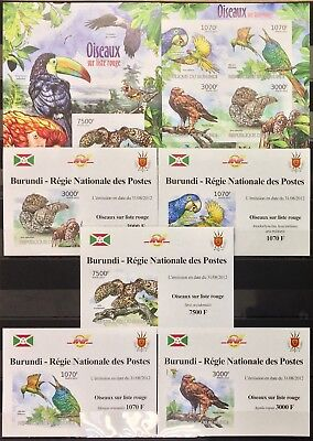A1515 Imperforate 2012 Burundi Protection Nature Birds Oiseaux Rouge 1Kb+6Bl Mnh