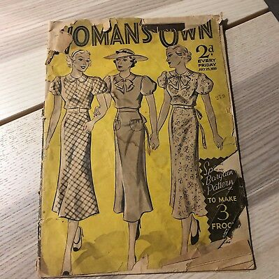 vintage Woman's own magazine from July 25th 1936, reasonable condition, yellowed