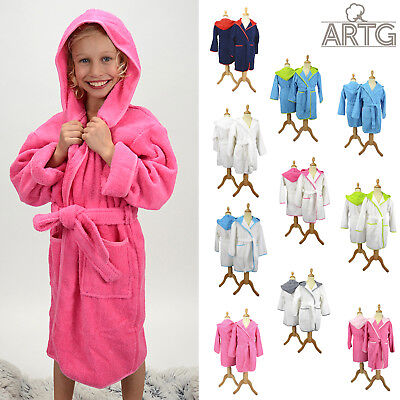 Kids Hooded Bathrobe - A&R Towels Boys & girls Luxury terry cotton gown Age 5-14