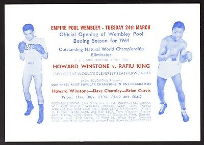 VINTAGE BOXING PROMOTION ADVERT CARD - 1964 - Howard Winstone and others
