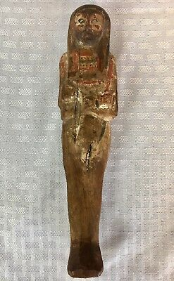Ancient Egyptian Wood Mummiform Ushabti XXVith Dynasty 6thc BCE Polychrome Paint