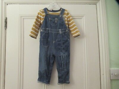 9-12m: Cute outfit: Denim dungarees + grey lining/ Reversible stripey top