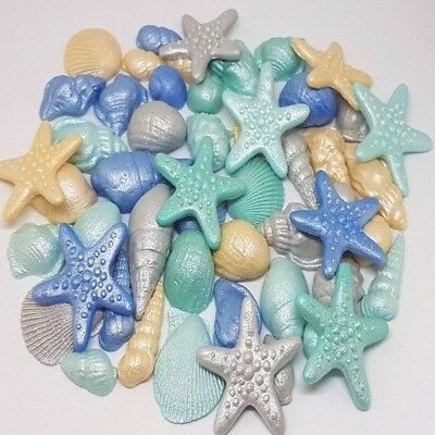 50 Edible Sugar Shells Sea Stars Cake Cupcake Toppers Decorations Airbrushed